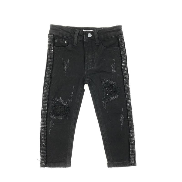 DNA Jeans-Kids Black Crystal Stiped Jeans-Black