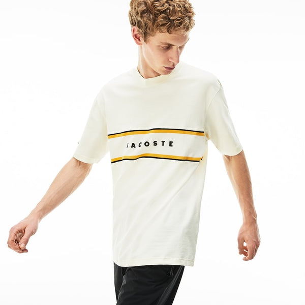 LaCoste-Crew Neck Lacoste Lettered Piqué Panel Cotton T-shirt-White • FJ7-TH4295