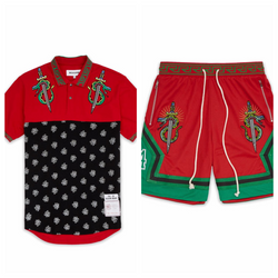 Reason Clothing-Snake and Swords Polo Set-Red-T9-26-27