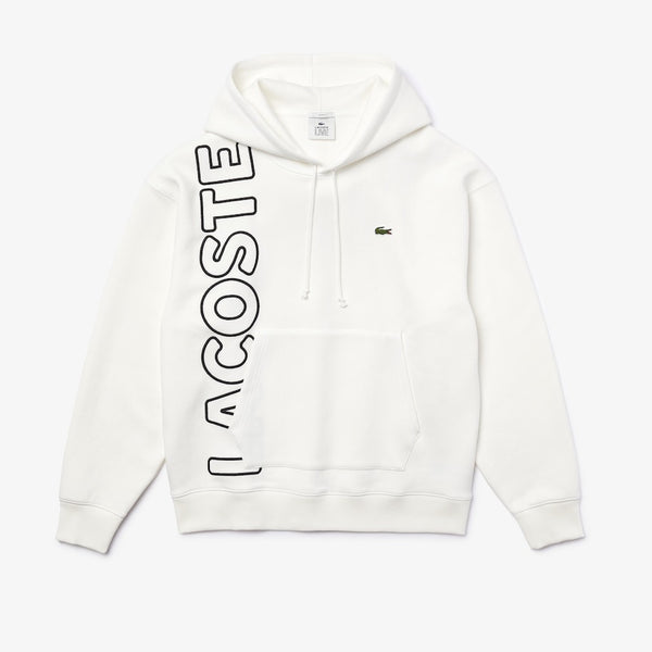 Lacoste-Unisex LIVE Hooded Embroidered Cotton Blend Sweatshirt-White / Black • 8LP- SH1441