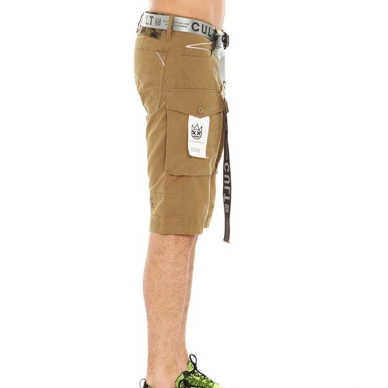 Cult Of Individuality-Belted Rocker Cargo Shorts-Olive-620A0-CS16A