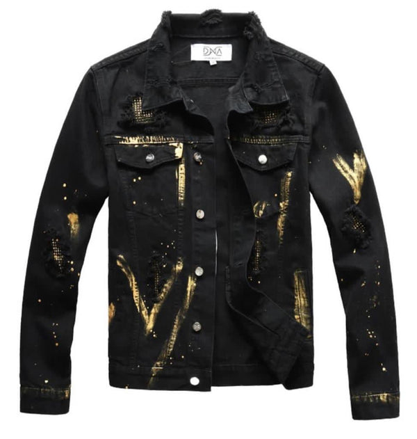 DNA-Gold Splatter Denim Jacket-Black