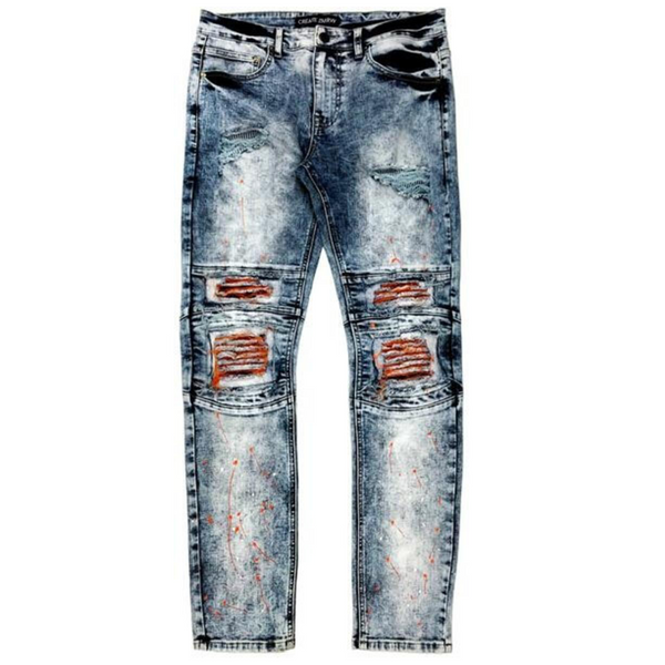 Create 2mrw-Rip & Repair Paint Splatter Jean-Dark Indigo
