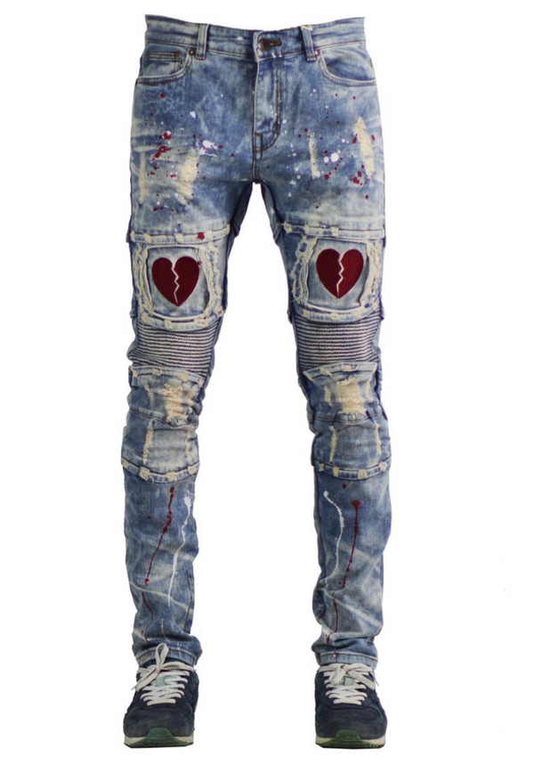 Focus Jeans-Broken Heart W/Paint Splatter-Vintage