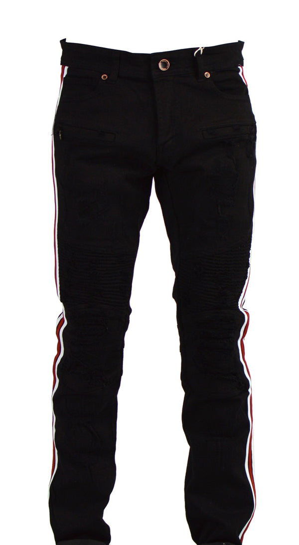 Focus Jean-Black/White/Red Motto Jeans-Black