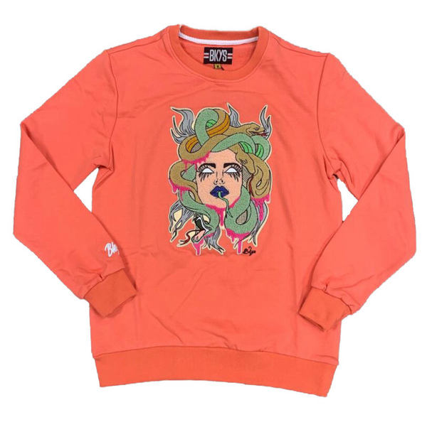 BKYS-Snake Lady Crewneck-Coral