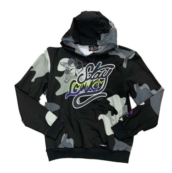 BKYS-Stay Lowkey Pullover Hoodie-Black Camo