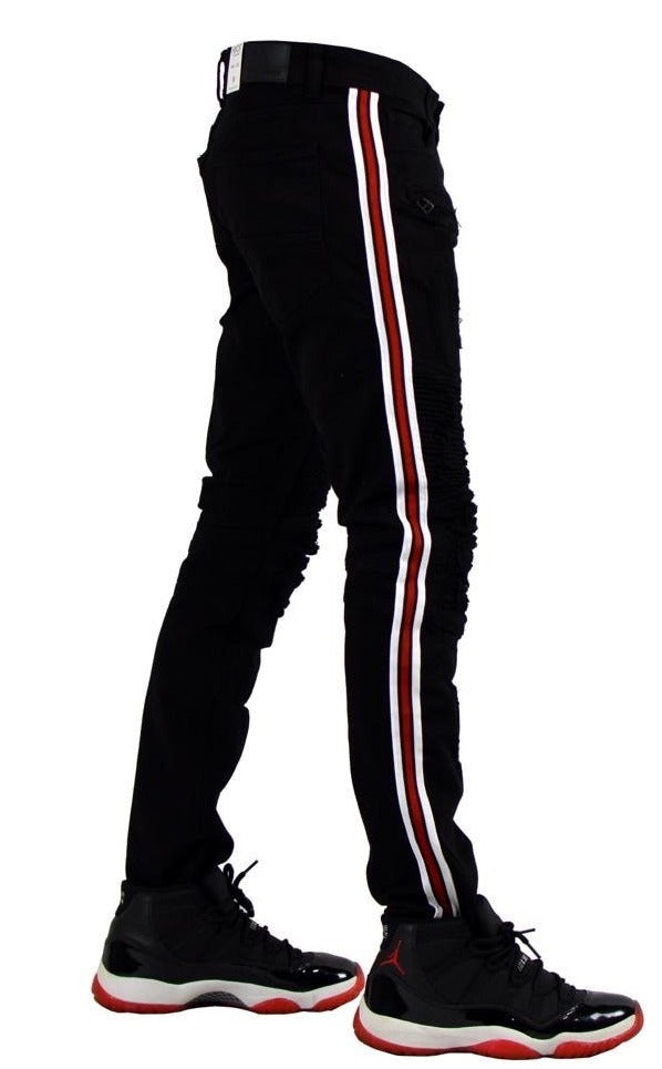 Focus Jeans-Red/White Stripes-Black