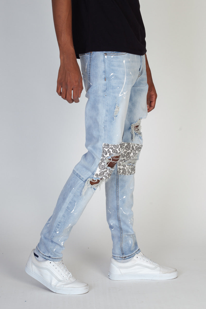 KDNK-Ripped Paisley Patched-Lt.Blue-KND4287