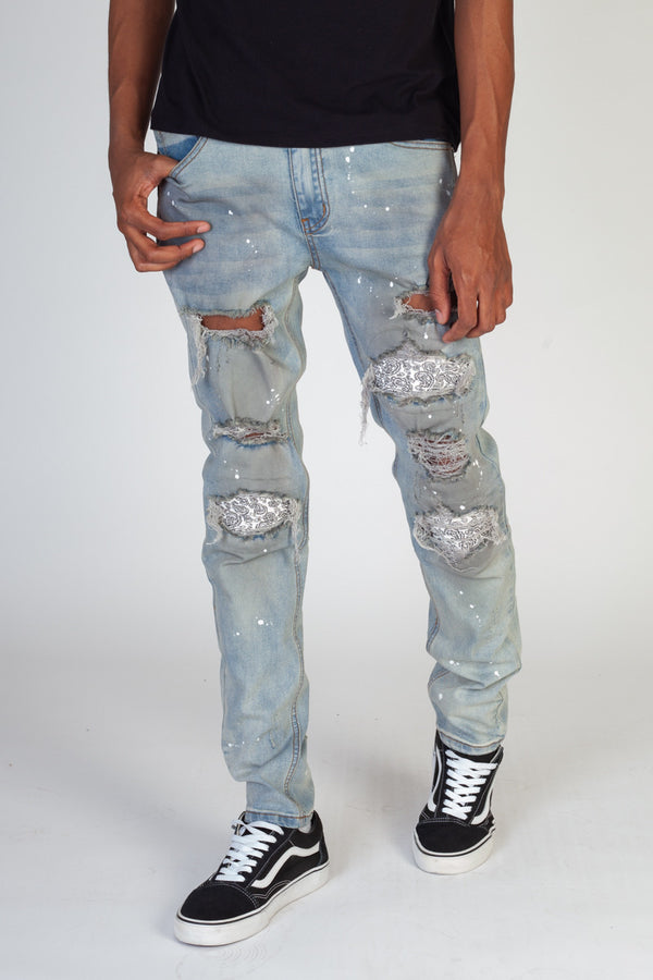 KDNK- Pin tuck Patched-Blue/Wht-KND4292