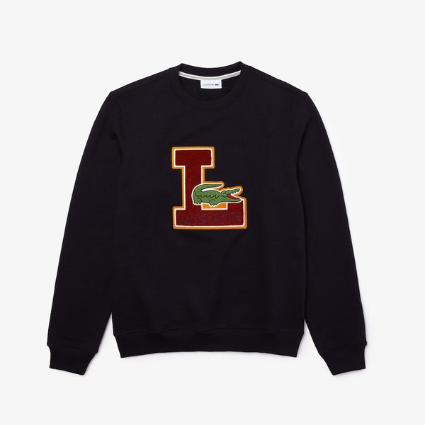 Lacoste-Crew Neck Badge Fleece Sweatshirt-Navy Blue • HDE-SH2208