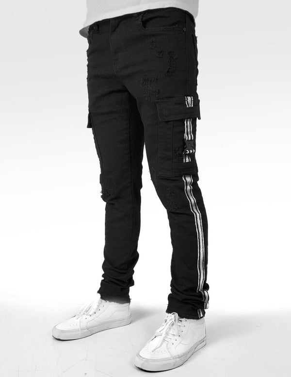 Industrial Indigo-Striped Cargo Jeans-Black/White