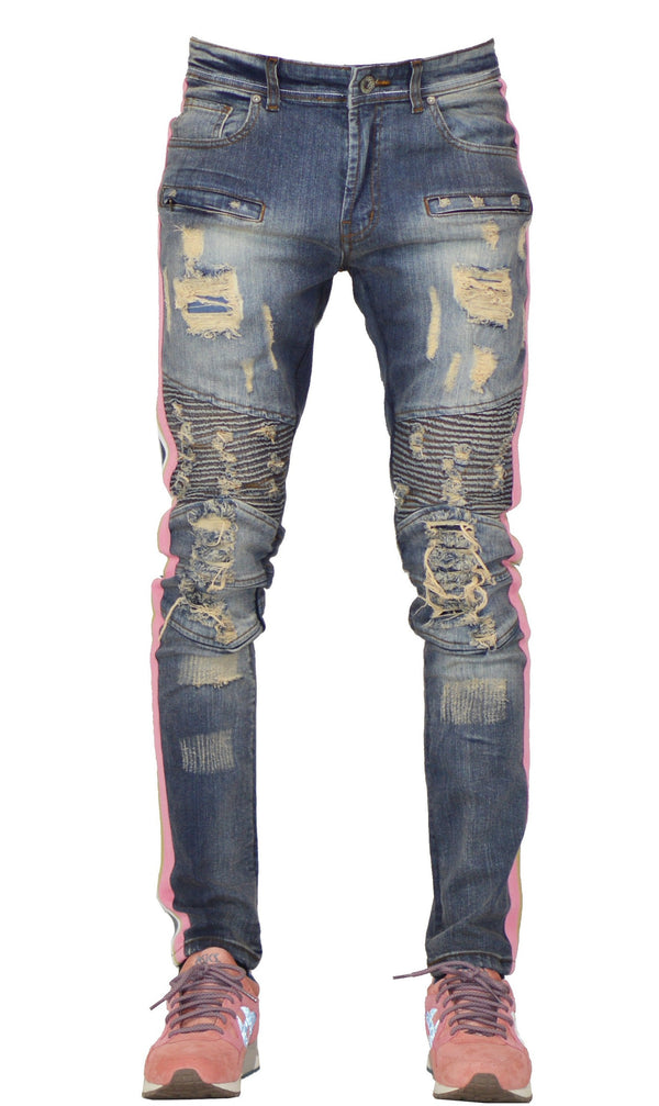 Focus Jeans-Pink and Tan Strips-Vintage Wash-3182