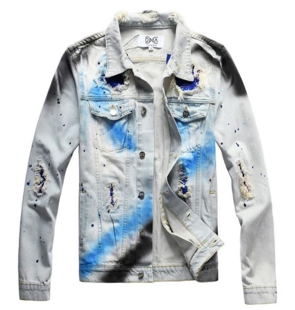 DNA-Blue Splatter Denim Jacket-Blue