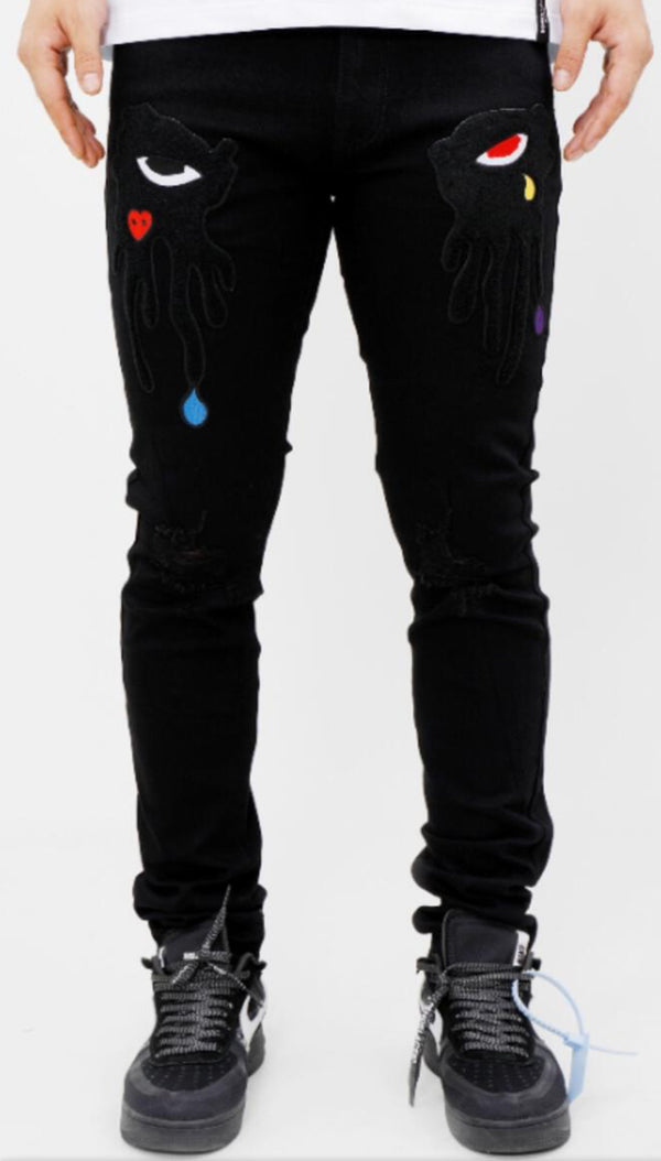 Roku Studio-Tear Dripping Jeans-Black