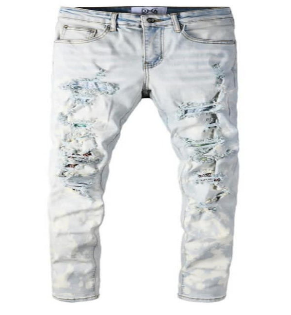 DNA-Bleached Denim Jeans-Blue