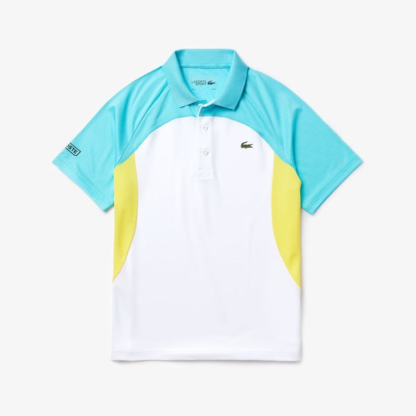 LaCoste-Men's SPORT Colorblock Breathable Piqué Tennis Polo Shirt-White/Turquoise/Yellow/Navy Blue • YGZ-DH4748