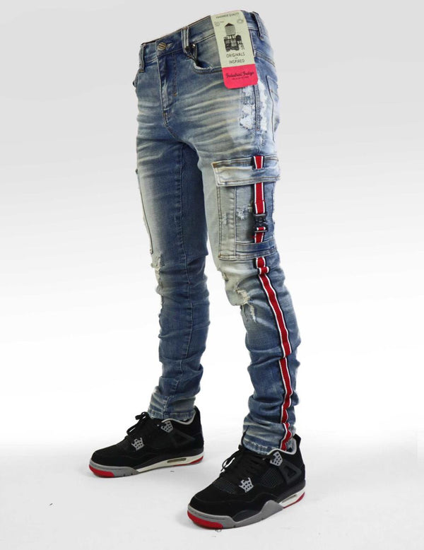 Industrial Indigo-Striped Cargo Jeans-Blue/Red