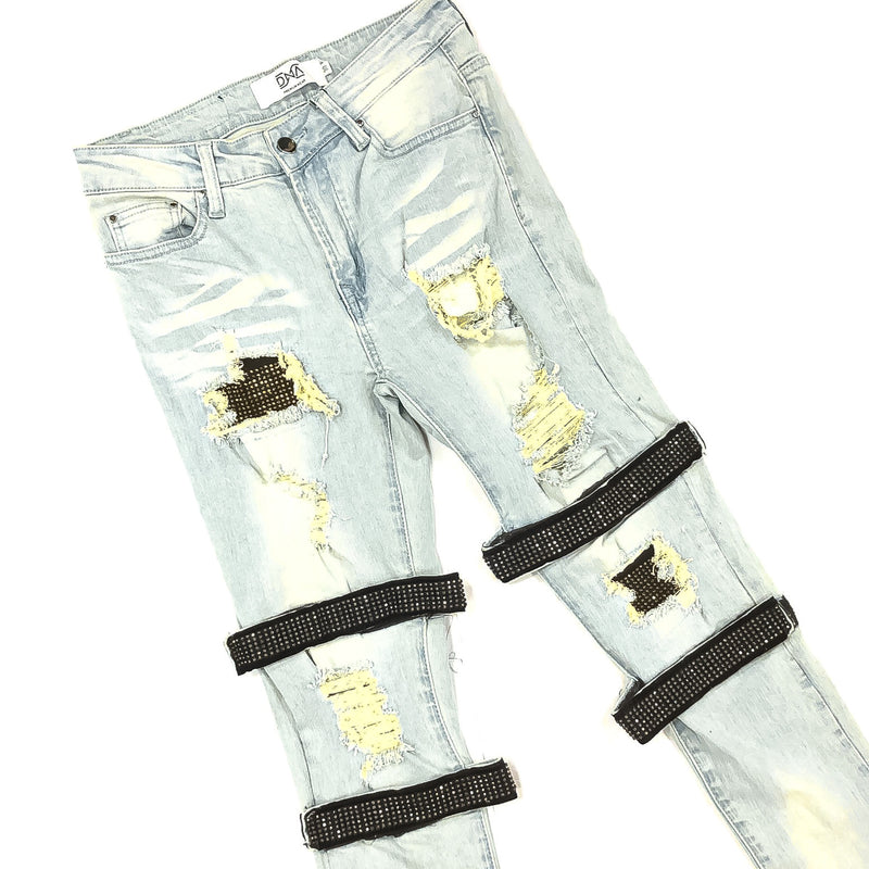 DNA-Straped Gold Crystal Jeans-Blue