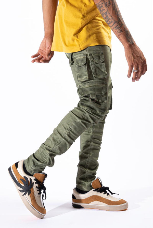 Serenede-Olea Cargo Jeans-Olive