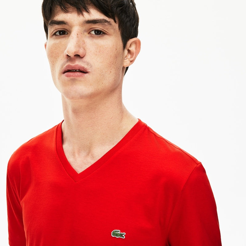 LaCoste-V-neck Pima Cotton T-shirt-Red • S5H-TH6710-51