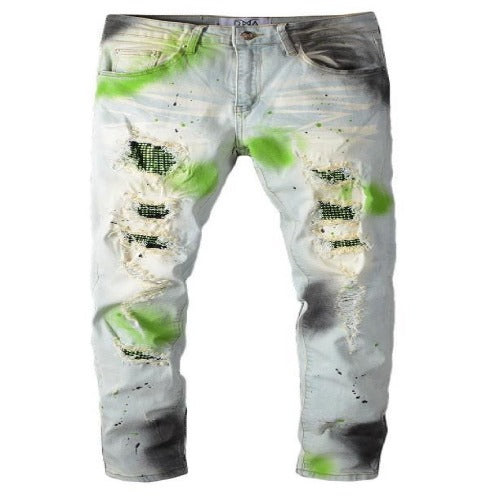 DNA-Green Splatter Jeans-Blue
