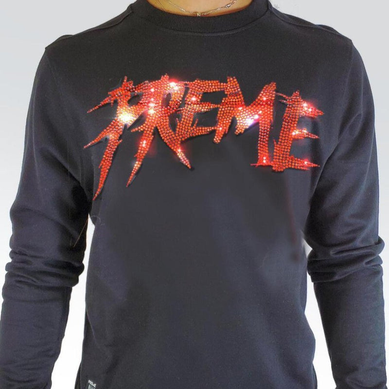 Preme Jeans-Red Crystal Script Sweater-Black