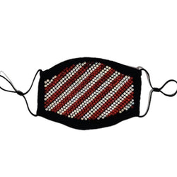 DNA Premium-Crystal Striped Mask-Red/Silver