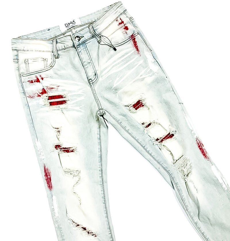 DNA-Red Stone/Paint Splatter Jeans