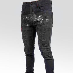 Preme Jeans-Scripted Silver Crystal Denim-Black