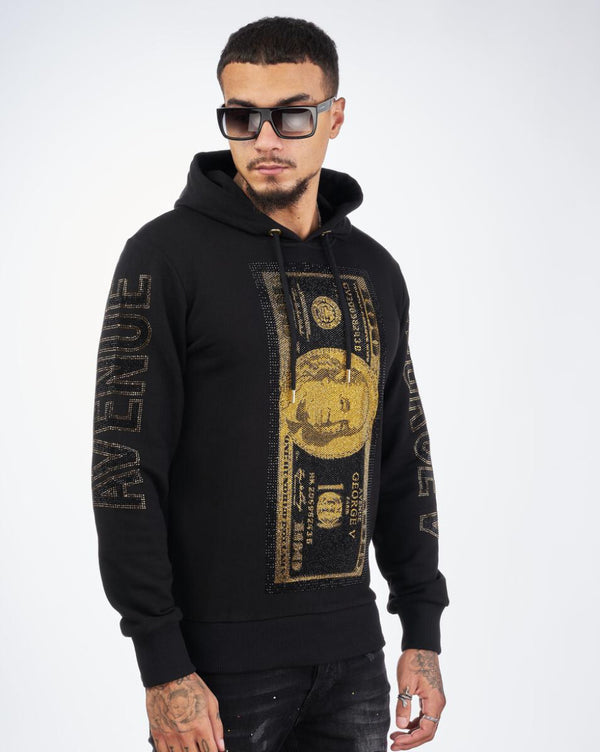 George V-Gold Benjamin Franklin Hoodie-Black