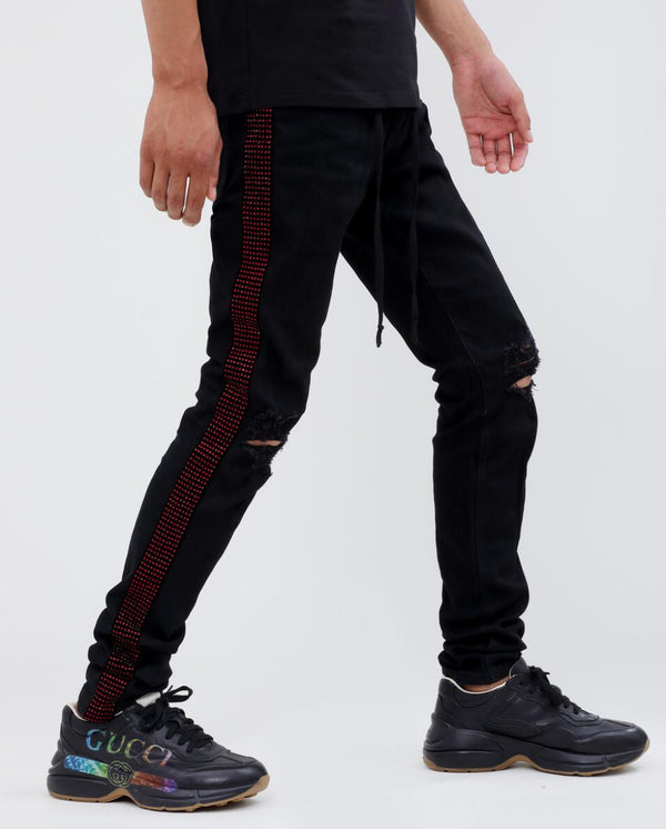 Eternity-Red Stone Tape Jeans-Black