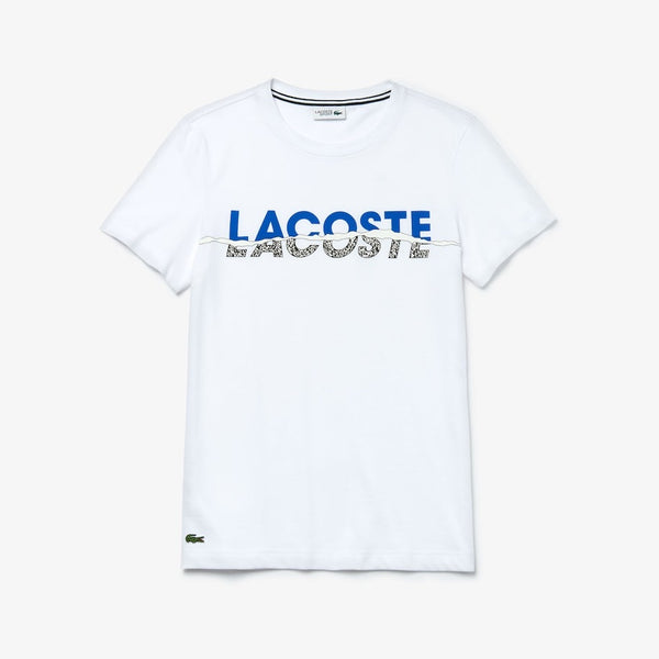 LACOSTE-Tear Graphic Tee-White/Blue/Black/White • Y6G-TH4907-51