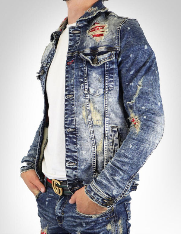 Industrial Indigo-Red Bandana Denim Jacket-Blue