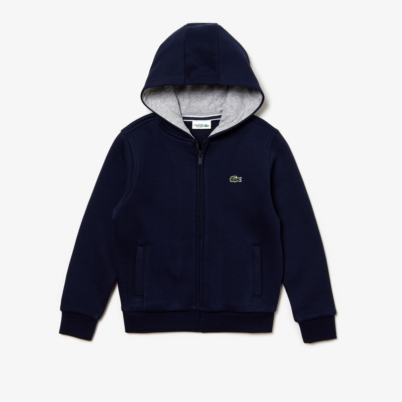 LaCoste Kids-Boys' Sport Full-Zip Fleece Hoodie-Navy-SJ2903