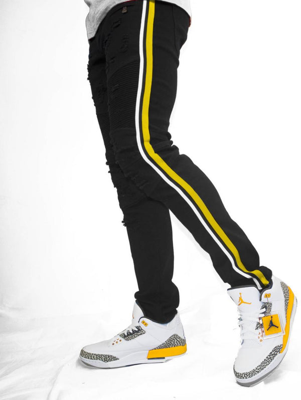 Preme Jeans-Motto Yellow/White Jeans-Black-PR-WB-321