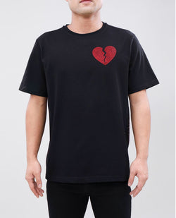 Eternity-Broken Heart Red Stone Tape Shirt-Black