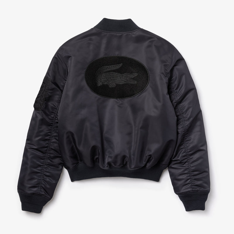 Lacoste-Unisex Lacoste Live Oversized Contract Bomber Jacket-Black • 031-BH1558