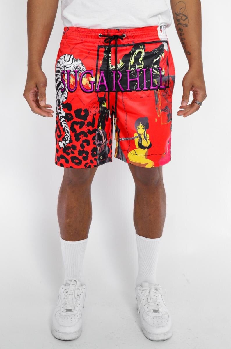 Sugarhill-Red Hybird Cabana Shorts-Red