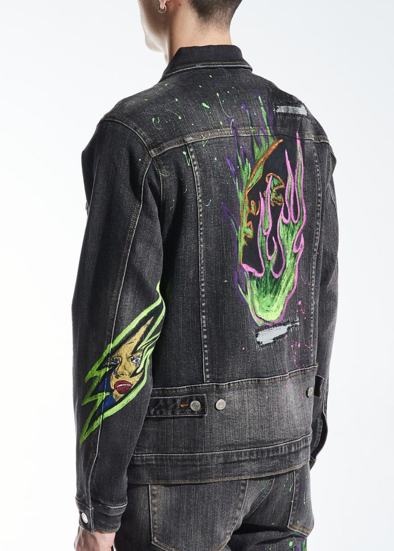 Embellish-Devey Denim Jacket-Black