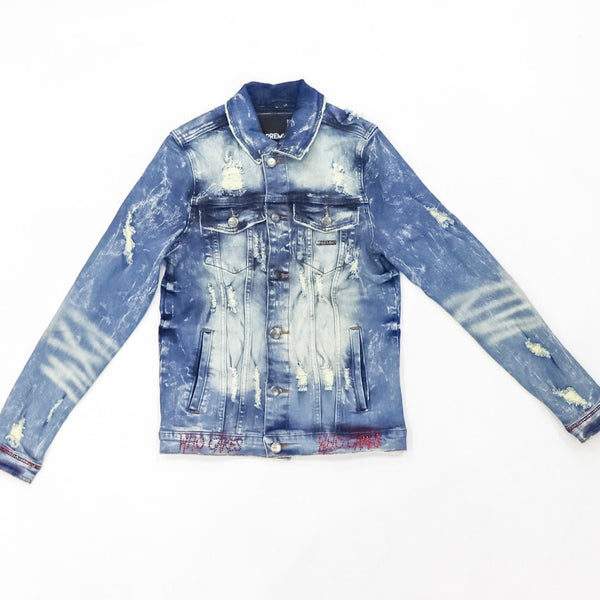 Preme Jeans-Scripted Denim Jacket Red Stones-Blue Indigo