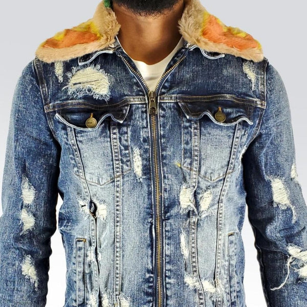 Preme Jeans-Flame Removable Fur Jacket-Blue Indigo