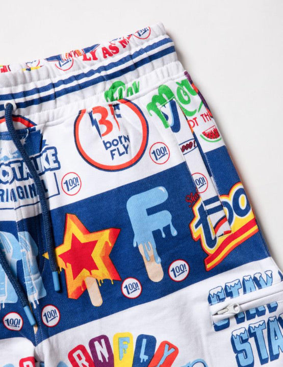 Born Fly-Swirl Printed Sweatshorts-Multi