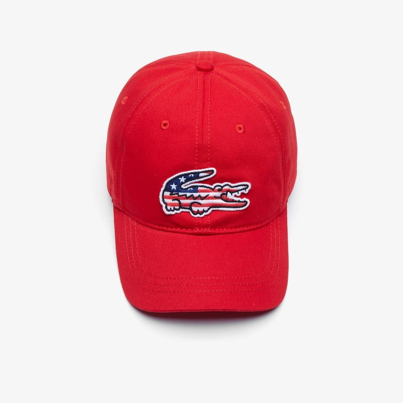 LaCoste-Men's American Flag Croc Cap-Red • 240-RK6263