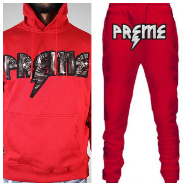 Preme-Studded Logo Jogging Set-Red/Silver