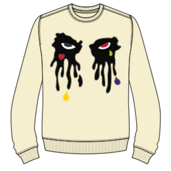 Roku Studio-Tear Dripping Crewneck-Egg Shell