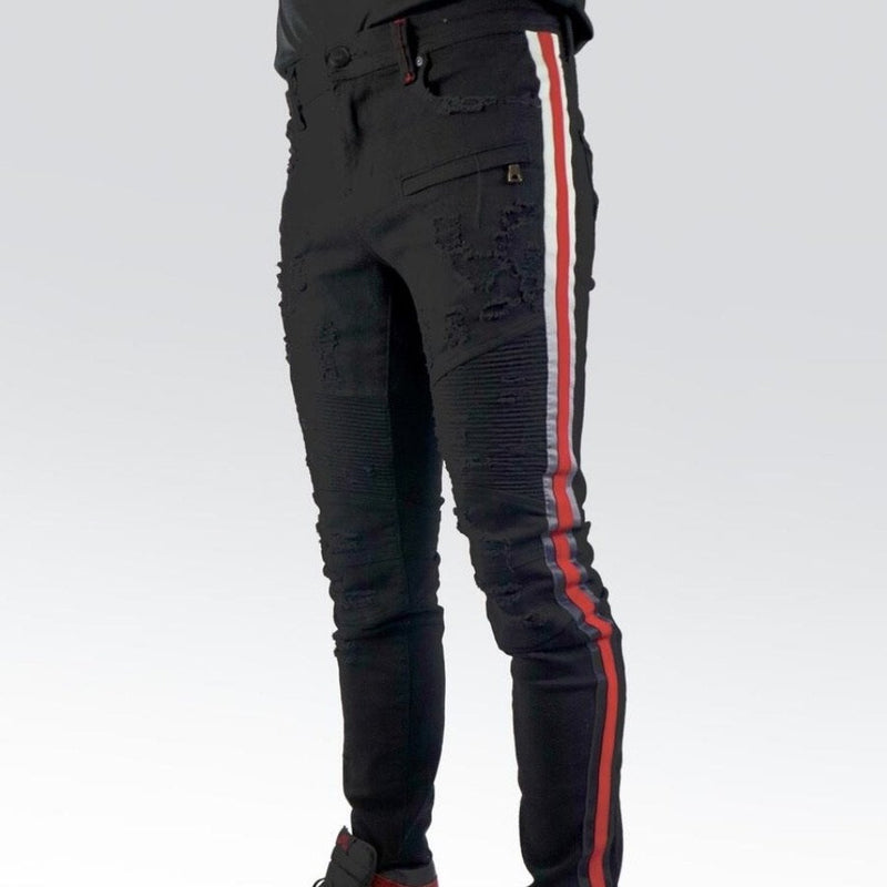 Preme Jeans-Motto Faded Red/White Jeans-Black-PR-WB-452