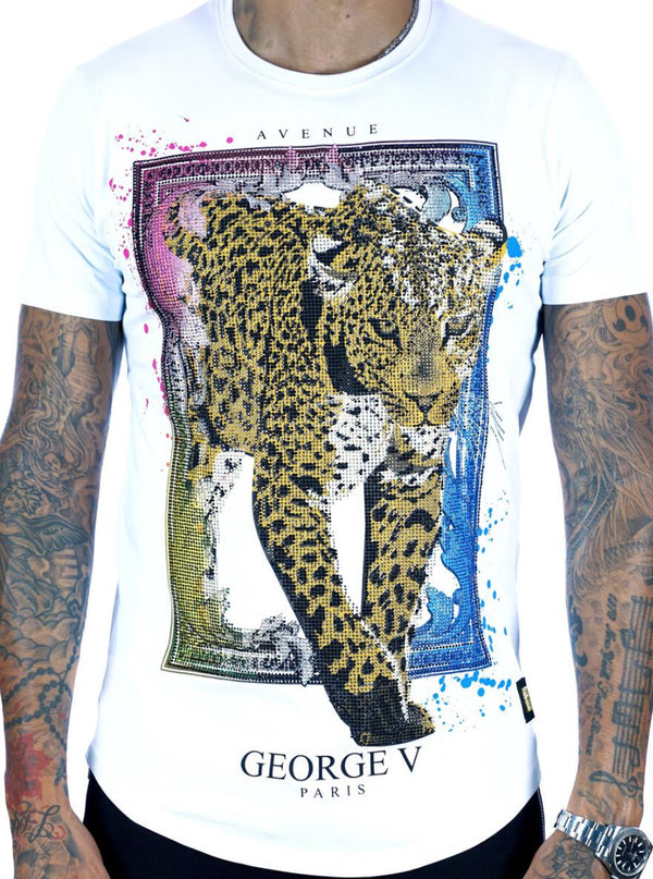 George V-Multi/Gold Jaguar Tee-White