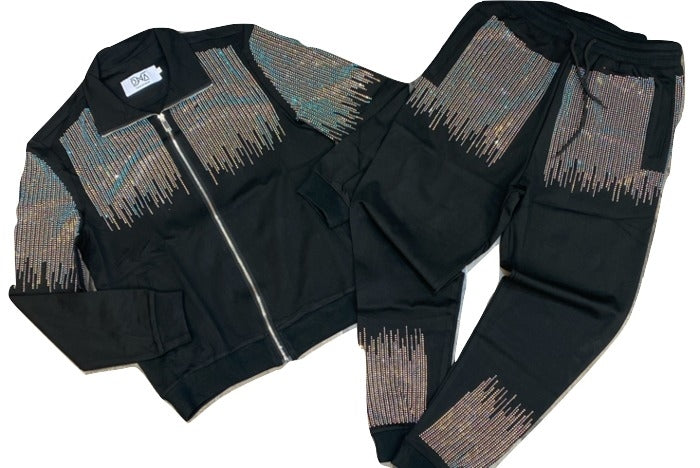 DNA Premium-Studded Sweatsuit-Black/Multi