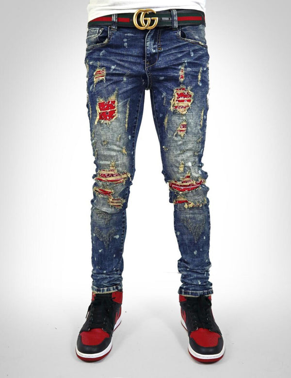 Industrial Indigo-Red Bandana Jeans-Blue